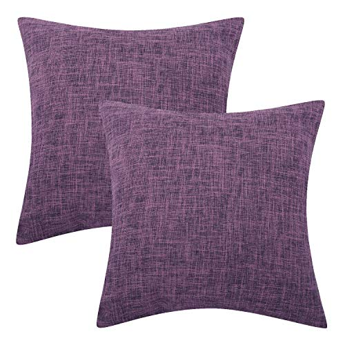 Lewondr Fine Linen Cushion Cover, Set of 2 Square Soft Woven Fine Throw Pillow Case Sham Sofa Cushion Decoration Solid Color Pillowcase 18 x 18 Inch - Purple