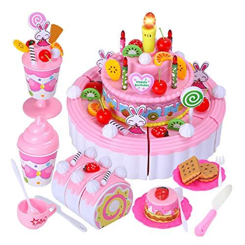 YEES DIY corte fiesta de cumpleaños, 103pcs DIY corte fiesta de cumpleaños pasteles Pretend Toys Set DIY cortar fiesta de cumpleaños fiesta comfy