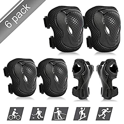 ValueTalks Protective Gear Sets for Youth/Kids Adjustable Safety Knee Pads and Elbow Pads Wrist Guards for 5~15yrs Girls Boys Teens Cycling Skating Roller Skateboard Bike Scooter Outdoor Sports