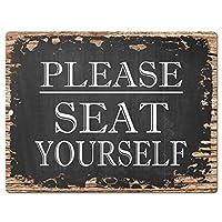自分で座ってくださいサイン素朴な駐車プレートホームレストランカフェの装飾-20x30cm
