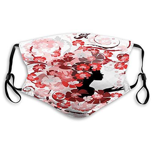Cubierta facial cómoda a prueba de viento, pelo de niña de las flores, flores rosadas, vestidos de belleza femenina, decoraciones faciales impresas para todo el mundo M