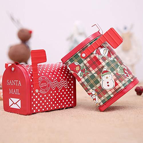 KimcHisxXv Kimilike Kerstcadeaudoos, kerstversiering wit blik Mailbox vorm appels snoepjes eigenaar kinderen geschenkdoos kerstaanbieding