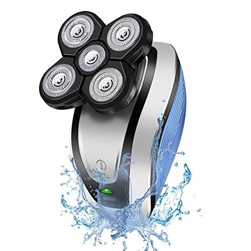 Hangrui Rasierer Herren Elektrisch,Elektrischer Nass- und Trockenrasierer Wasserdicht Rasierapparat,Bartschneider,Glatzen Rasierer,Nasenhaarschneider,5 IN 1 Elektrorasierer USB-Wiederaufladbar
