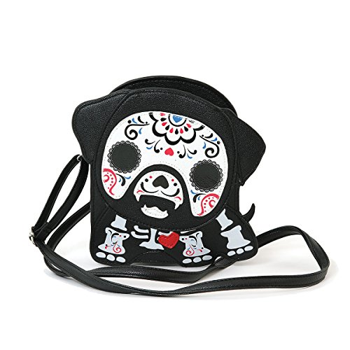 WonderMolly Sleepyville Critters Tattoo Sugar Skull Skeleton Dog with A Heart Shoulder Crossbody Bag