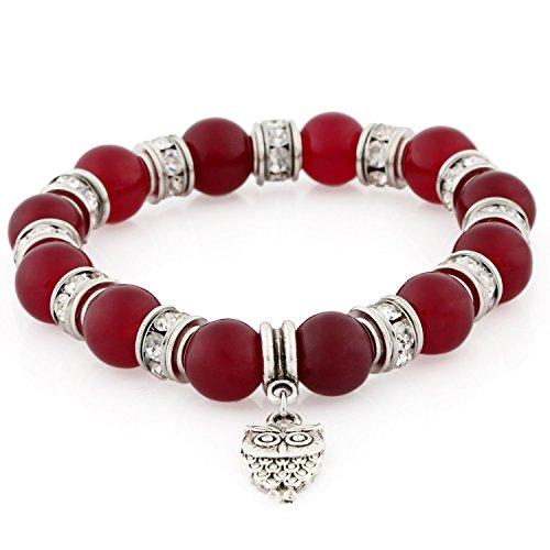 Morella Pulsera elástica de Perlas de Piedra con Colgante Lechuza y Piedras de circonita, Color Rojo Vino, para Damas