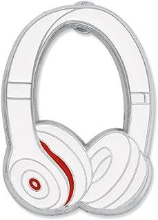 Headphones Music Trendy Enamel Lapel Pin - White