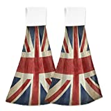 Vintage Great Britain Flag Hand Towel Kitchen 2 Pack Old Grunge England Flag Hanging Tie Towels with Loop for Bathroom Absorbent Washcloth