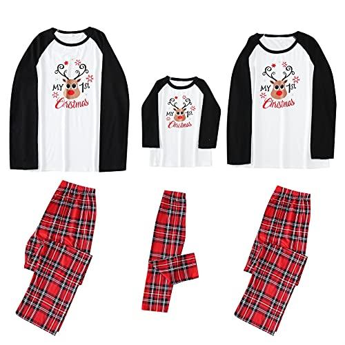 Conjunto de pijamas Familia Navidad para hombre mujer niño y Bebé Otoño e invierno Top Camiseta y pantalones 2 Piezas Homewear Ropa de Dormir manga larga estampados Pijama para el hogar