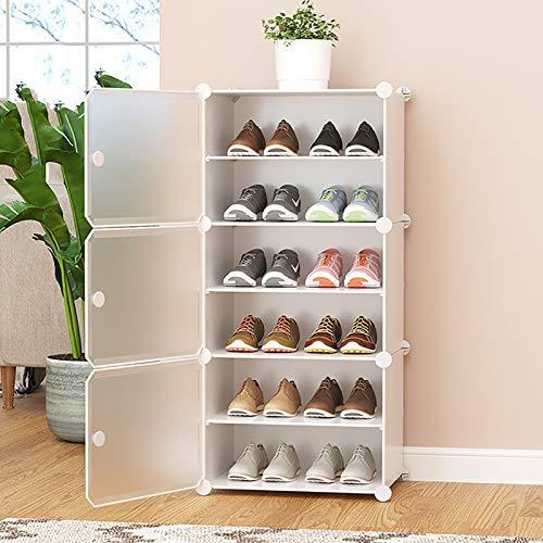 Multi-estante De Zapatos De Capa,Con Organizador De Almacenamiento De Estantes De Zapatos De Cubierta A Prueba De Polvo,Cajas De Zapatos De Plástico Transparentes,Torre De Zapatos -Blanco. 6-tier 44x3