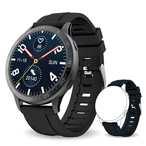 Bebinca Smartwatch Vollrund-Farbdisplay, Fitness-Tracker mit Herzfrequenz- und Blutdruckmessgerät Meldungsbenachrichtigungen, Langer Battery,DIY watchface,IP68 wasserdicht (Noir)