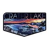 Lantern Press Crater Lake National Park, Oregon, Snow Scene, Contour 90095 (Vinyl Die-Cut Sticker, Indoor/Outdoor, Small)