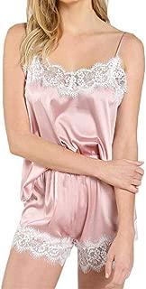 BODOAO Women Satin Pajamas Set Silk Lace Sleepwear Cami Nightwear Shorts Lingerie 2 Pcs Pajamas