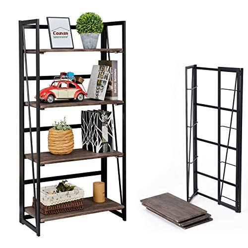 Coavas Folding Bookshelf Home Office Industrial Bookcase No Assembly...