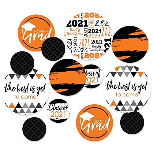 Big Dot of Happiness Orange Grad - Best is Yet to Come - 2021 Graduation Party Giant Circle Confetti - Orange Grad Party Decorations - Large Confetti 27 Count