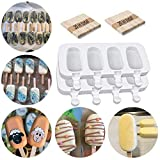 """❤【Product Size】Ice Cream Mold contains: 2 pack (8)Popsicle Molds Silicone, 40 pcs wooden sticks.The mini size is very suitable for your children to DIY ice cream, which is more interesting. The overall size of the popsicle mold is 4.9"""" x8.5"""" x0.98"""",s..."""
