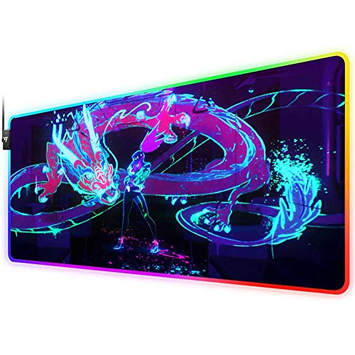 RGB Gaming Mouse Pad for kda Akali neon Dragon pop Stars, LED Soft Extra Extended Large Mouse Pad,Anti-Slip Rubber Base,Computer Keyboard Mouse Mat 31.5 X 12 Inch