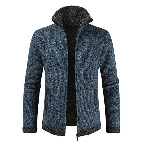 YINLAN Mens Winter Thick Thermal Fleece Lined Knitted Knitting Full Zipper Cardigan Hoodie Hooded Pullover Jumper Jacket Coat Tops Mens Casual Long Sleeve Stand-up Collar Sweatshirt Outwear Overcoat