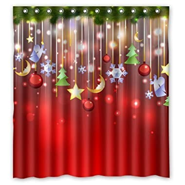 Good Bathroom Choice - Merry Christmas Time Fantastic Christmas Decoration Design Shower Curtain 66 x72  Inches 100% Waterproof Polyester Fabric Bathroom Curtain,Shower Rings Included