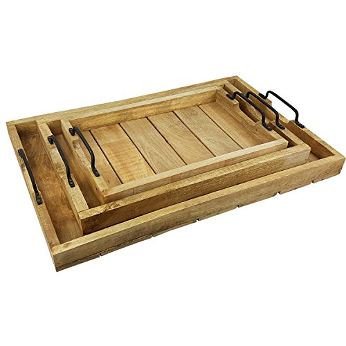 Serviertablett Holz rechteckig 3er Set Tablett mit Tragegriff für Geschirr und Getränke Serving Tray aus rustikalem massivholz Holztablett Stapelbar