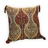 Funda de cojín de Color Rojo Oxidado, Verde Oliva, decoración Oriental, Tela Oriental, Arte de Damasco S 2-2-4030