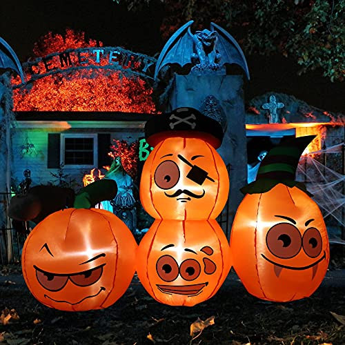 Halloween Yard Decor Inflatables Pumpkins – 5ft Outdoor Blow up Yard Decorations with Wizard hat Build-in LED Lights for Halloween Decorations Indoor Holiday Party Indoor Garden Lawn