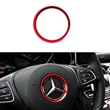 Duoles Sports Aluminum Steering Wheels Center Decoration Cover Trim for Mercedes B C E CLA GLA GLC GLK Class, etc (Red, 2.3'' Inner Ring Size)