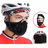 FakeFace Bike Cycling Anti-dust Half Face Mask with Filter Neoprene Added Activated Carbon Filtration Layer Black