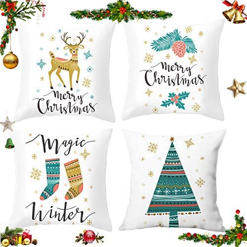 Sunshine smile 4 Stück Kissenbezug Weihnachten,Kissenbezug Frohe Weihnachten,Wohnkultur Leinen Dekokissen,Schneeflocke Rentier&Weihnachtsmann Muster,Weihnachten Deko Kissenbezug 45x45cm