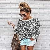 Hoodie Suéter Mujer Sudadera Cuello Redondo Estampado Leopardo Jersey Camisa Suelta 5 Colores Mujeres Jerseys Tops L Gris
