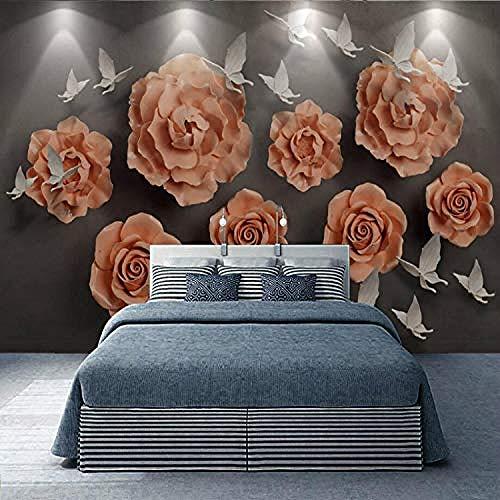 Tapete Seidentapete für Wände 3D-Wandbilder Hintergrund Geprägte Blumen Schlafzimmer Wohnzimmer Heimwerker Wanddekoration fototapete 3d Tapete effekt Vlies wandbild Schlafzimmer-400cm×280cm