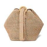 Faguo Straw Crochet Clutch Bag Bolsos de Moda Bolso de Noche de muñeca Bolso Verano/Playa/Bolsos de Fiesta