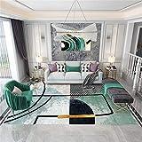 alfombras infantiles habitacion Alfombra de diseño de patrón abstracto geométrico verde, alfombra a prueba de humedad de mesa de centro moderna antiácaros alfombras baratas -verde_Los 80x160cm