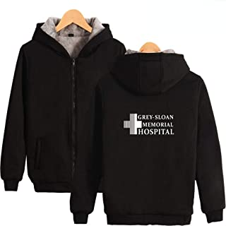 U CAN Grey's Anatomy Hoodies Unisex Long Sleeve Fleece Thick Zipper Hooded Sweater Pullover
