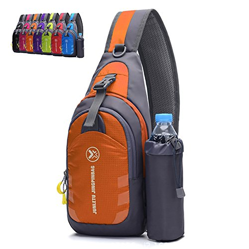 Peicees Chest Crossbody Backpack Sling Backpack Travel Bike Gym Outdoor Daypack Single Shoulder Sling Bag with Water Bottle Holder for Women Men Boys and Girls(Orange)