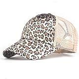 YPORE Leopard Print Summer Ponytail Baseball Cap Mesh Hats for Women Messy Bun Casual Hip Hop Snap Back Hats -