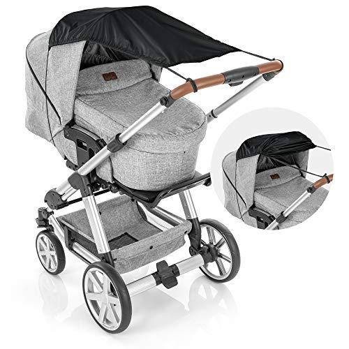 reer ShineSafe Sonnensegel für den Kinderwagen, Sonnenschutz für viele Modelle, schwarz