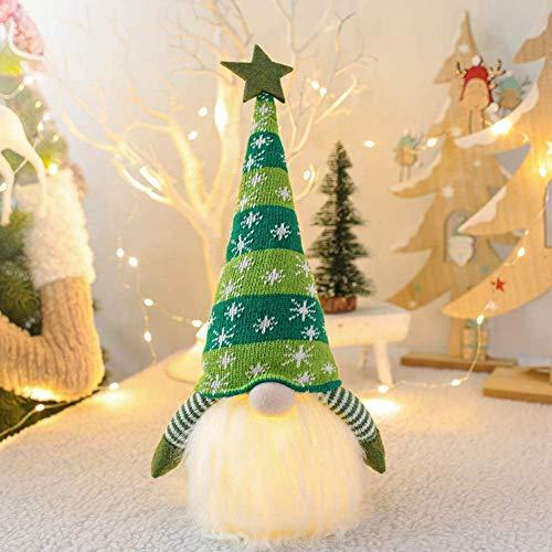SHOKUTO Weihnachtswichtel-Dekoration, schwedischer Schneeflockenhut, skandinavischer Nikolaus-Figur, Elfe Tomte, Zwerg mit LED-Licht für Dekoration, Heimdekoration, Urlaub, Geburtstagsgeschenk, (grün)
