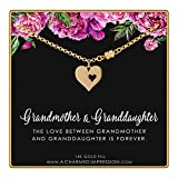 Gold Grandmother Granddaughter Bracelet with Card • Two Connected Hearts Bracelet • Gifts for Women • Grandmother Jewelry • 14k Gold Filled Bracelet • MAGNETIC CLASP • Gifts for Grandma Granddaughter