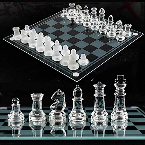 LYDJ Glass Chess Game Set Include Frosted/Polished Glass Chess Board and 32 Chess Pieces with Padded Bottom, Crystal Chess Set for Adults and Children Strategy Game,M
