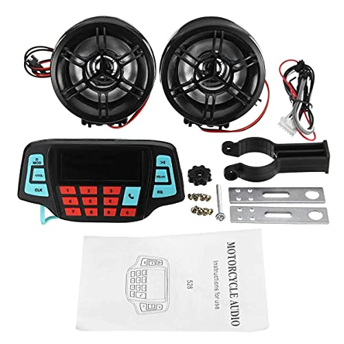 YJDSZD Componentes electrónicos Manillar de Motocicleta MP3 Altavoces Negros Sistema de Audio USB SD FM con función Bluetooth