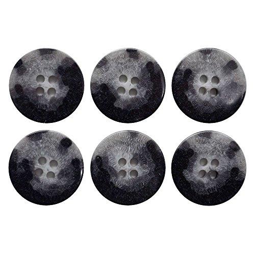 手芸のいとや ボタン 四つ穴ボタン マーブル ブラック 22mm 16個セット 直径約22mm 厚さ約4mm