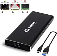 QNINE NVME SSD Enclosure, M.2 NVME to USB C Adapter with Case, Based on 10 Gbps USB 3.1 Gen 2 to PCIe Gen 3 x2 Bridge Chip, Included 2 USB Cables, Fit for Samsung 960 970 EVO PRO WD Black NVME SSD