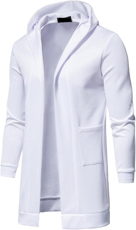 Stoota Mens 2021 Fashion Autumn & Winter Solid Color Cardigan Coats, Casual Long Sleeve Windbreaker Pocket Hooded Jacket