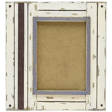 Prinz Rustic River Wood Frame in Distressed White Finish, 5 by 7-Inch