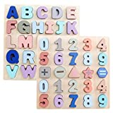wood alphabet - GEMEM Wooden Puzzles for Toddlers, Large Alphabet ABC Upper Case Letter and Number Wood Montessori Learning Board Educational Toys for Boys Girls Set of 2