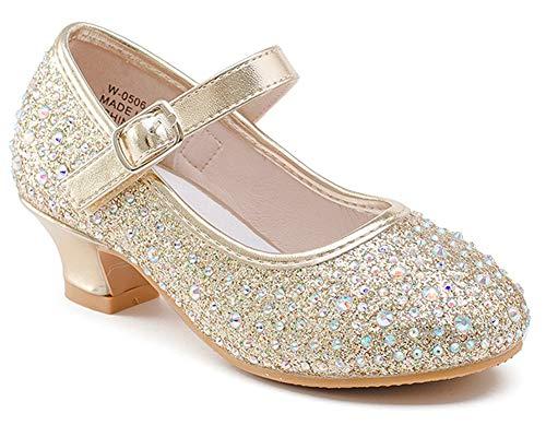 Walofou Glitter Girls Princess Shoes Size 9 Cosplay Flower Toddler Girl High Heel Shoes White 9 Girls Wedding Girl Party Dress Shoes 3 Yr Little Kids Girl Cute Sequin 06Gold 10