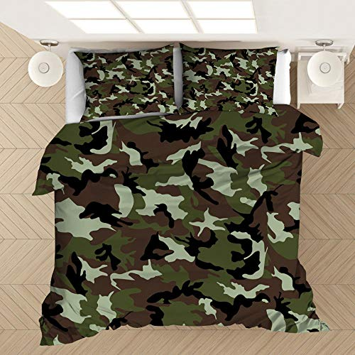 Funda de almohada con funda nórdica con estampado de camuflaje en 3D, cama individual doble tamaño king, dormitorio decorativo, apartamento, ropa de cama suave y cómoda-10_180 * 210 cm (3 piezas)