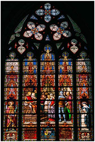 Iglesia pintura de techo de vidrieras religión cristiana edificio ventana carteles e impresiones arte de pared para decoración del hogar -24X32 pulgadas sin marco