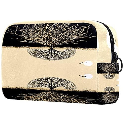 Bolsa de Maquillaje compacta Bolsas de cosméticos de Viaje portátiles para Mujeres niñas Neceser,Silueta de la Vida del árbol con raíces