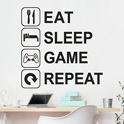 Gamer Wall Decor Game Machine Controller Wall Decal Eat Sleep Games Decor Video Game Wall Decal Customized for Kids Bedroom 42X89Cm